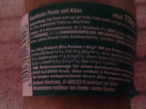 Das verwendete Basilikum Pesto mit Nährwerten