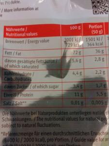 Angabe gesättigte Fettsäuren
